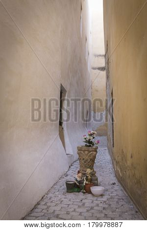 It is a curved Street was frequented by pirates and smugglers who were doing their tricks located in the District of el Pópulo visited by tourists in Cadiz Spain