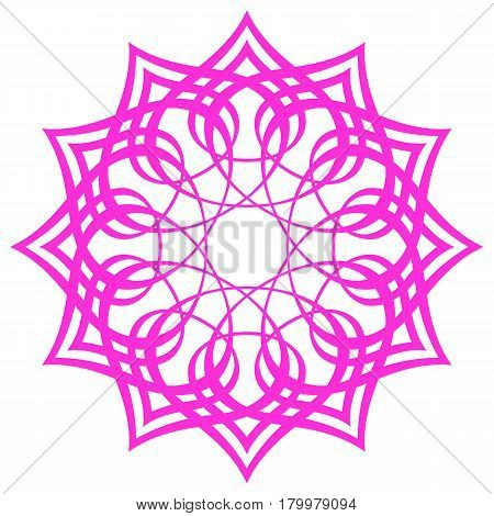 bright pink symmetry pattern, simple mandala, rosette