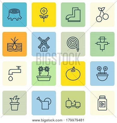 Set Of 16 Holticulture Icons. Includes Floweret, Gardening Shoes, Agrimotor And Other Symbols. Beautiful Design Elements.