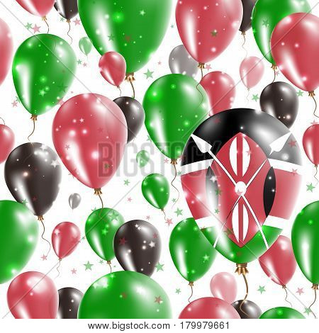 Kenya Independence Day Seamless Pattern. Flying Rubber Balloons In Colors Of The Kenyan Flag. Happy