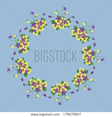 Floral round frame from pansy flowers. Yellow and violet pansy with green leaves on a blue background. Greeting card template. Vector illustration.