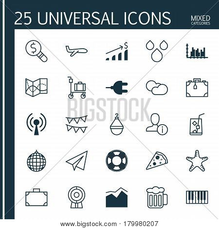Set Of 25 Universal Editable Icons. Can Be Used For Web, Mobile And App Design. Includes Elements Such As Successful Investment, Portfolio, Water Drops And More.