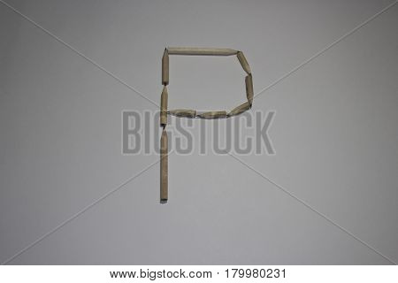 Alphabet symbol - letter P pencil on white background