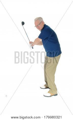 A handsome older senior practicing golf at his home standing isolated for white background.
