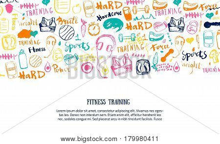 Sport site page, banner or header for training program with sports equipment, gym for healthy lifestyle with lettering. Vector illustration