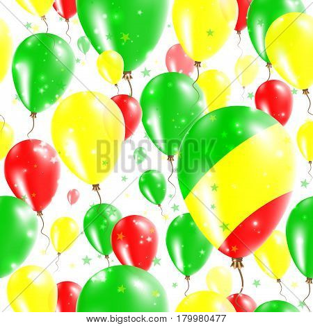 Congo Independence Day Seamless Pattern. Flying Rubber Balloons In Colors Of The Congolese Flag. Hap