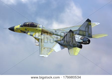 ZHUKOVSKY, MOSCOW REGION, RUSSIA - AUGUST 5, 2014: Mikoyan MiG-29K 30 BLACK of russian Navy performs test flight in Zhukovsky.