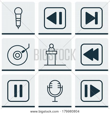 Set Of 9 Multimedia Icons. Includes Mike, Last Song, Mute Song And Other Symbols. Beautiful Design Elements.