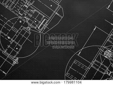 Blueprints. Mechanics. Cover. Mechanical Engineering drawing. Engineering design construction. Black. Points