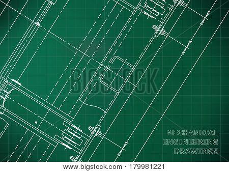 Mechanical Engineering drawing. Blueprints. Mechanics. Cover. Engineering design construction. Light green. Grid