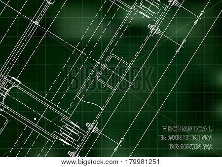 Mechanical Engineering drawing. Blueprints. Mechanics. Cover. Engineering design construction. Green. Grid