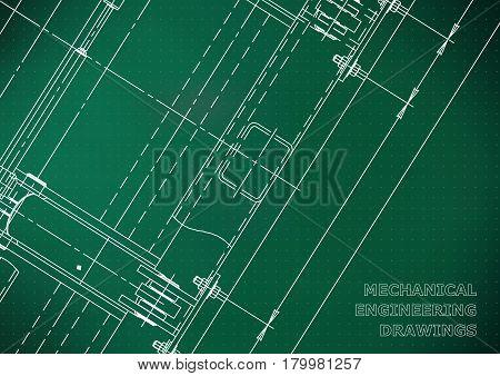 Mechanical Engineering drawing. Blueprints. Mechanics. Cover. Engineering design construction. Light green. Points