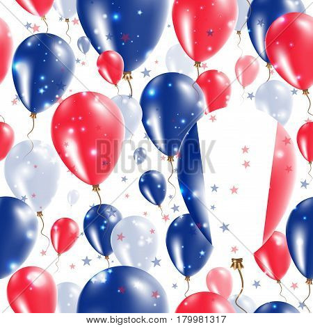France Independence Day Seamless Pattern. Flying Rubber Balloons In Colors Of The French Flag. Happy