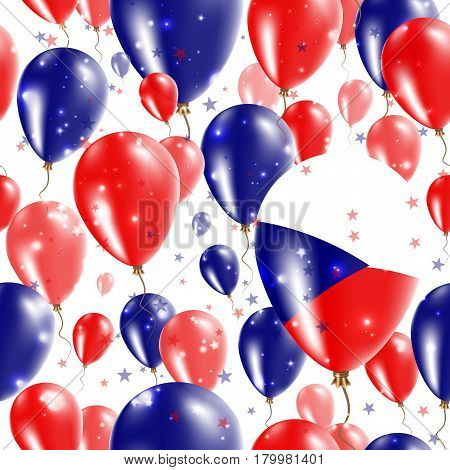 Czech Republic Independence Day Seamless Pattern. Flying Rubber Balloons In Colors Of The Czech Flag
