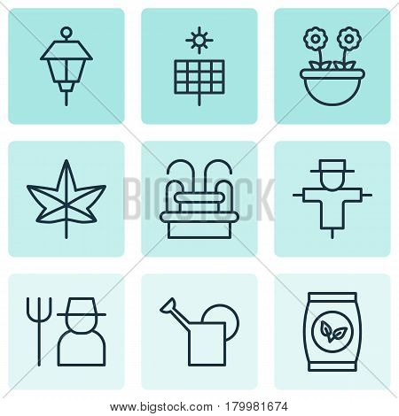 Set Of 9 Planting Icons. Includes Bailer, Grower, Sun Power And Other Symbols. Beautiful Design Elements.