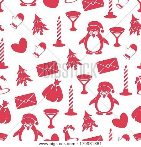 Seamless pattern with Christmas elements on white background. Red elements. New Year packaging for gifts.