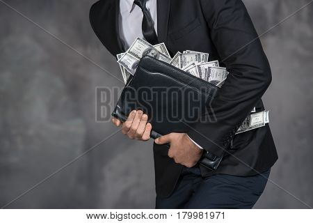 Male person holding money banknotes finance corruption