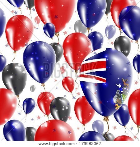 Sgssi Independence Day Seamless Pattern. Flying Rubber Balloons In Colors Of The South Georgia And T
