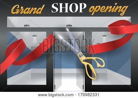 Grand opening vector illustration, background with red ribbon. Template banner, flyer, design element, decoration for opening event