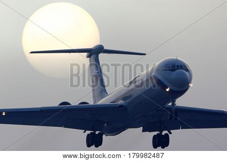 CHKALOVSKY, MOSCOW REGION, RUSSIA - JANUARY 23, 2013: Ilyushin IL-62M RA-86495 of Russian Air Force landing at Chkalovsky.
