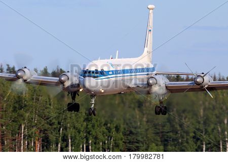 CHKALOVSKY, MOSCOW REGION, RUSSIA - JULY 18, 2013: Ilyushin IL-22 of Russian Air Force landing at Chkalovsky.