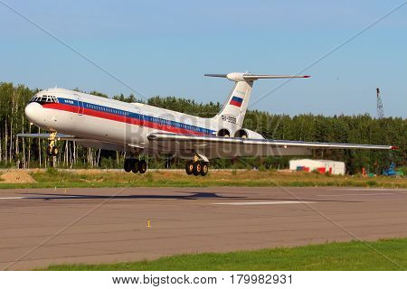 CHKALOVSKY, MOSCOW REGION, RUSSIA - JULY 18, 2013: Ilyushin IL-62M RA-86539 of Russian Air Force landing at Chkalovsky.