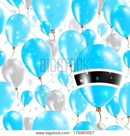 Botswana Independence Day Seamless Pattern. Flying Rubber Balloons In Colors Of The Motswana Flag. H