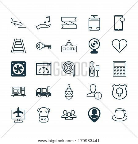 Set Of 25 Universal Editable Icons. Can Be Used For Web, Mobile And App Design. Includes Elements Such As Favorite Person, Internet Ticket, Loading Speed And More.