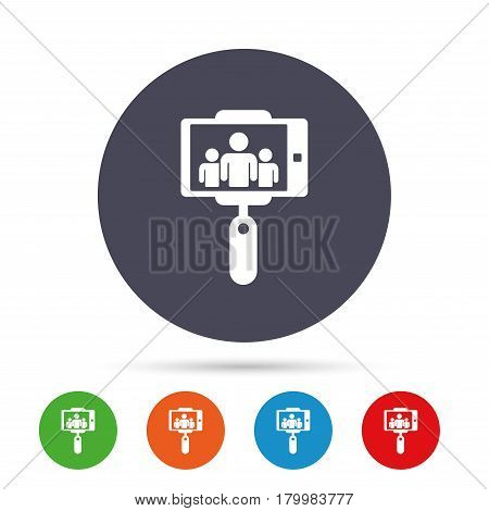 Monopod selfie stick icon. Self portrait with group of people. Round colourful buttons with flat icons. Vector