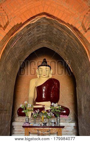 Beautiful Buddha Statue Inside Old Paya In Bagan, Myanmar