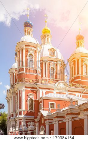 The church of Saint Clement of Rome in Moscow under the suns rays.