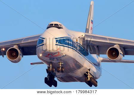 SHEREMETYEVO, MOSCOW REGION, RUSSIA - FEBRUARY 10, 2013: Volga-Dnepr Antonov An-124 landing at Sheremetyevo international airport.