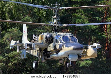 LYUBERTSY, MOSCOW REGION, RUSSIA - JULY 12, 2011: Kamov Ka-52 Alligator attack helicopter pictured in Lyubertsy.