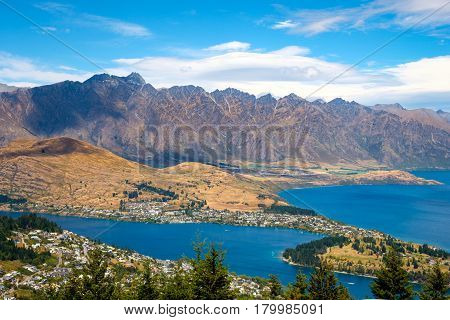 Scenic view of Queenstown and Remarkables mountain range New Zealand