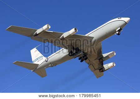 KUBINKA, MOSCOW REGION, RUSSIA - APRIL 24, 2014: Open Skies Boeing OC-135B taking off at Kubinka air force base.