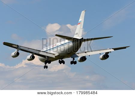 SHEREMETYEVO, MOSCOW REGION, RUSSIA - JULY 8, 2008: Aeroflot-Don Ilyushin IL-86 landing at Sheremetyevo international airport.