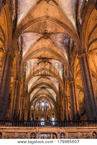 BARCELONA, SPAIN - OCTOBER 23, 2015: The Cathedral of the Holy Cross and Saint Eulalia also known as Barcelona Cathedral in gothic quarter of Barcelona Spain