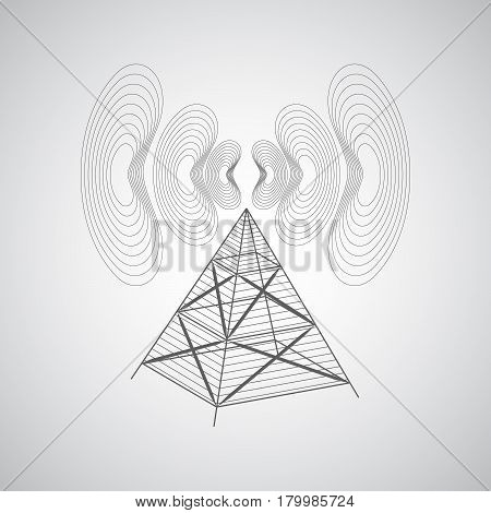 Abstract Background With Antenna And Radio Waves On A Gray Background.