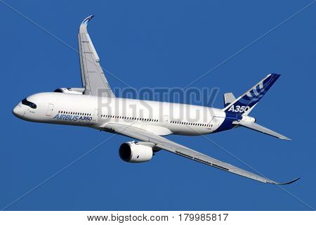 ZHUKOVSKY, MOSCOW REGION, RUSSIA - AUGUST 22, 2015: Airbus A350 perfoming demonstration flight in Zhukovsky during MAKS-2015 airshow.