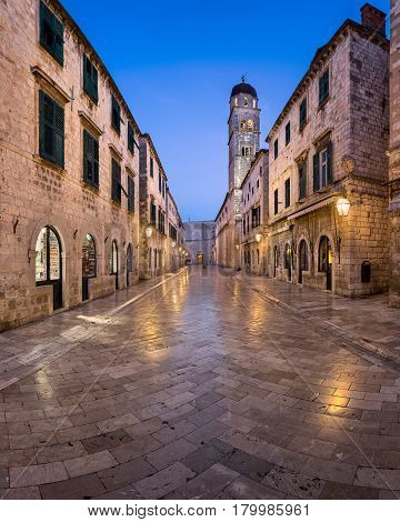 DUBROVNIK CROATIA - JULY 2 2014: Panorama of Stradun Street in Dubrovnik. Dubrovnik. In 1979 the city of Dubrovnik joined the UNESCO list of World Heritage Sites.