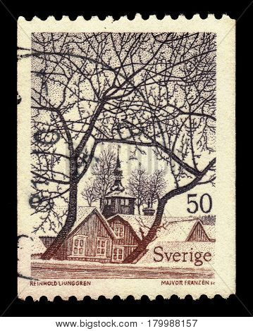 SWEDEN - CIRCA 1973: a stamp printed in the Sweden shows view of Trosa, small town in Sodermanland County, series swedish landscapes, circa 1973