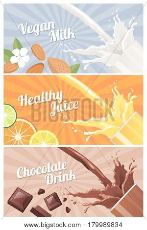 Healthy natural vegetarian drinks banners set with glass: almond milk orange juice and dark chocolate