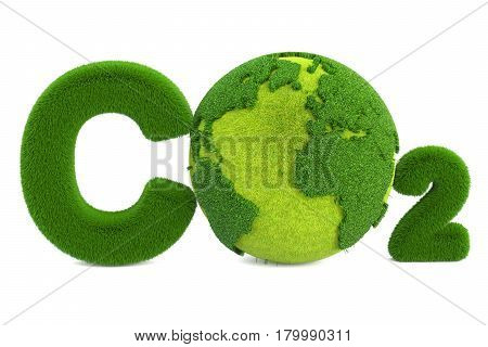 CO2 from grass inscription with globe eco concept. 3D rendering isolated on white background