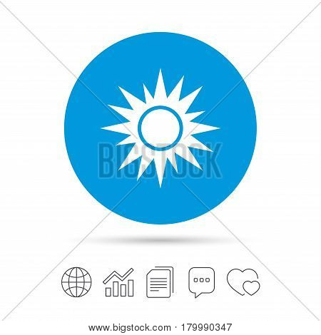 Sun sign icon. Solarium symbol. Heat button. Copy files, chat speech bubble and chart web icons. Vector