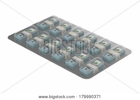 Financial Aid concept. Dollar Pills in the blister 3D rendering isolated on white background