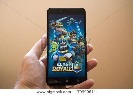 Nitra, Slovakia, March 24, 2017: Clash Royale application logo on smartphone