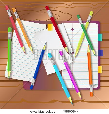Background With Color Pencils. Empty Notebook With And Color Pencil Around On The Table. Vector Back