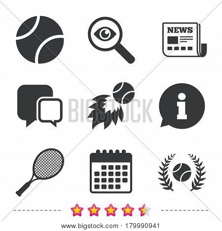 Tennis ball and racket icons. Fast fireball sign. Sport laurel wreath winner award symbol. Newspaper, information and calendar icons. Investigate magnifier, chat symbol. Vector