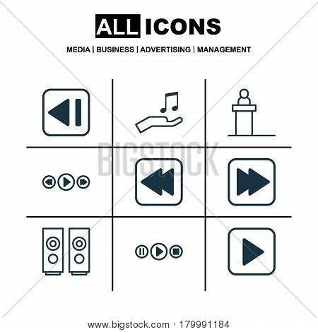 Set Of 9 Music Icons. Includes Music Control, Rewind Back, Rostrum And Other Symbols. Beautiful Design Elements.