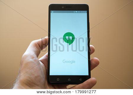 Nitra, Slovakia, March 24, 2017: Google hangouts application logo on smartphone